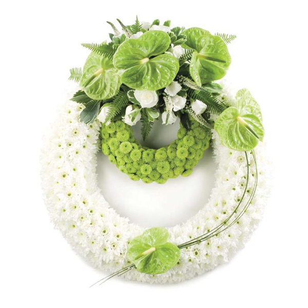 White And Lime Wreath