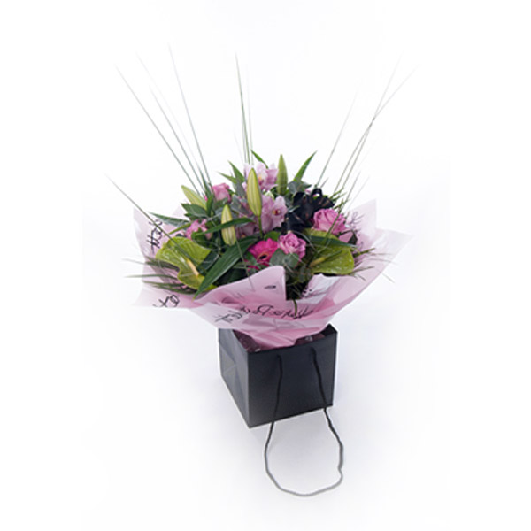 Luxury Orchid and Oriental Lily Bag Bouquet