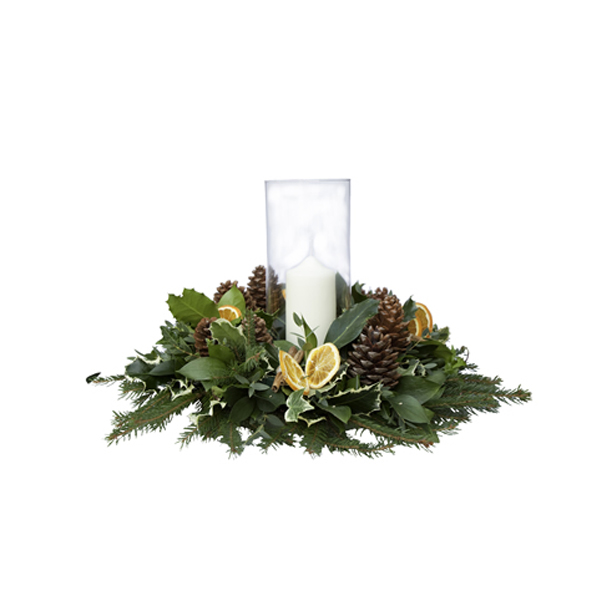 hurricane vase and foliage ring Christmas flower delivery Sheffield
