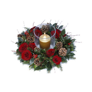 hurricane and flower ring Christmas flower delivery Sheffield