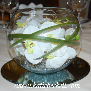 Large Glass Fishbowl Wedding Table Centerpiece with White Orchid