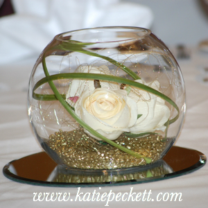 Medium Glass Fishbowl Wedding Table Centerpiece with Silk Cream Roses