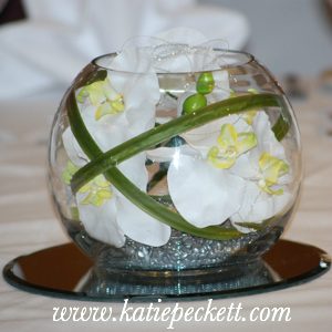 Medium Glass Fishbowl Wedding Table Centerpiece with Silk White Orchid