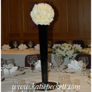 Tall Black Centrepiece Vase With Hydrangea Wedding Flowers Sheffield