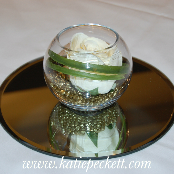 Small Glass Fishbowl Wedding Table Centerpiece with Silk Cream Rose (To Hire)