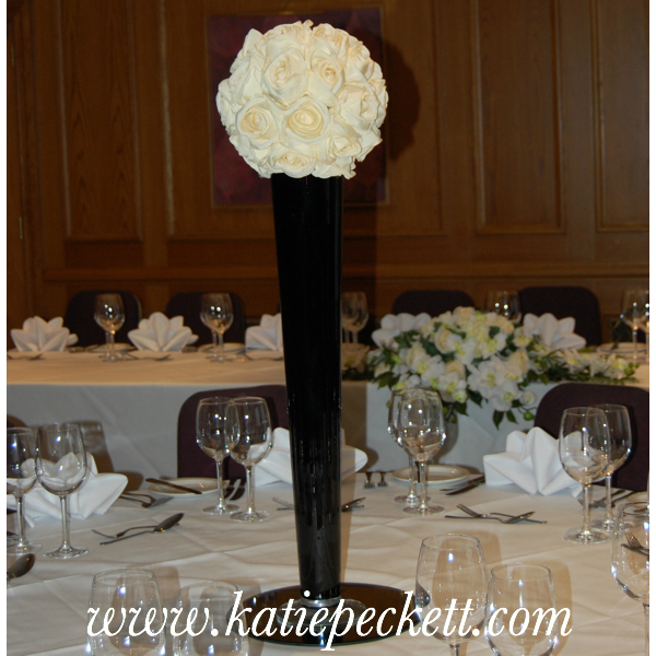 Tall Wedding Table Centerpiece Black Vase with Silk Rose Ball (To Hire)