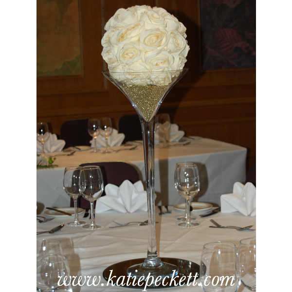 Tall Martini Vase Wedding Table Centerpiece With Silk Roses To Hire
