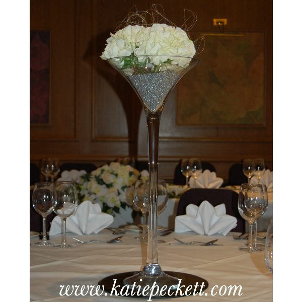 Tall Martini Vase Wedding Table Centerpiece with Silk Hydrangea (To Hire)
