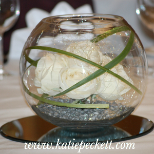 Large Glass Fishbowl Wedding Table Centerpiece with Silk Cream Roses (To Hire)