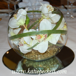 Large Glass Fishbowl Wedding Table Centerpiece with Cream Orchid (To Hire)