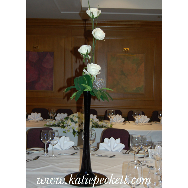 Tall Black Lily Vase Wedding Table Centerpiece with Silk Roses (To Hire)