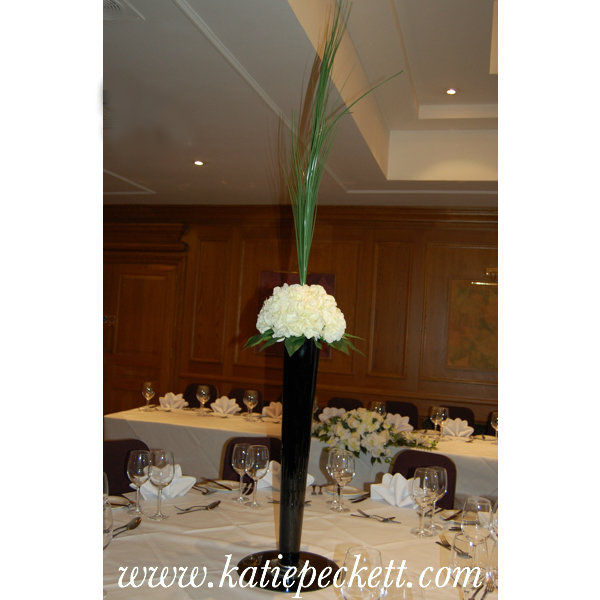 Tall Black Conical Vase Wedding Table Centerpiece with Hydrangea