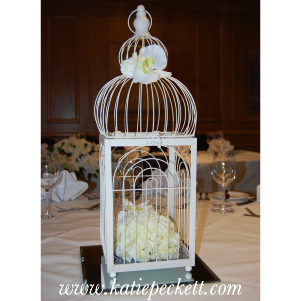 Ornate Cream Birdcage Wedding Table Centerpiece with Silk flowers (To Hire)