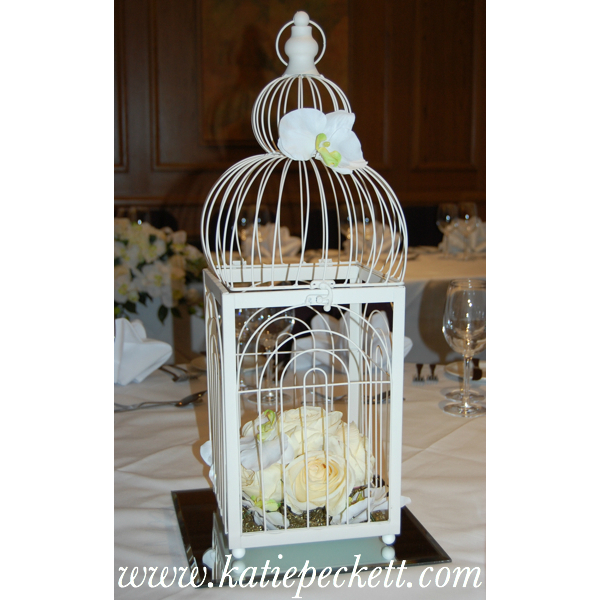 Ornate Cream Birdcage Wedding Table Centerpiece with Silk Roses (To Hire)