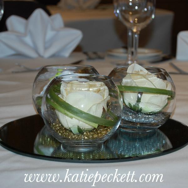 3 fishbowl wedding flowers Sheffield centrepiece flower delivery Sheffield