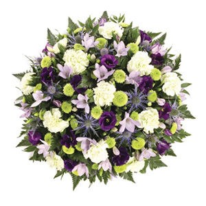 blue and lime posy funeral flowers Sheffield