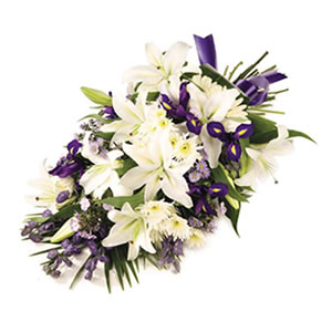 blue and white tied sheaf Sheffield funeral flowers
