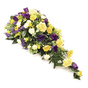 blue and yellow flower spray funeral flowers Sheffield