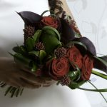 brides bouquet red roses