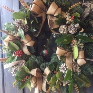 country Christmas door wreath
