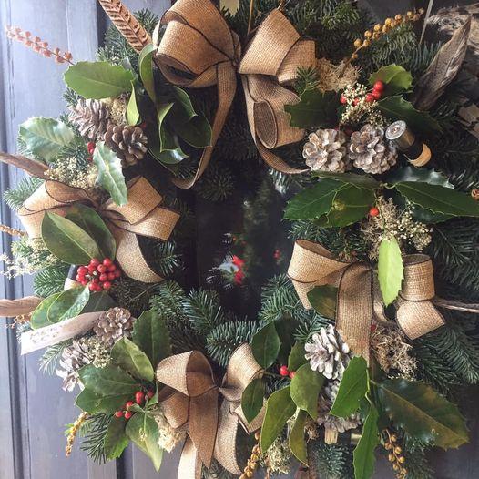 country Christmas door wreath