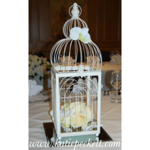cream birdcage centrepiece roses wedding flowers Sheffield
