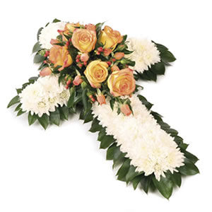 floral massed cross funeral flowers Sheffield