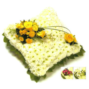 funeral flowers Sheffield Solid White Cushion with Coloured Spray