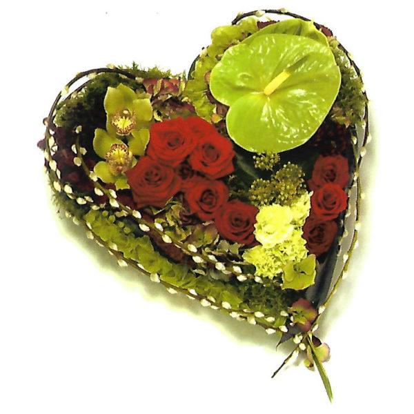 funeral flowers Sheffield modern textured heart