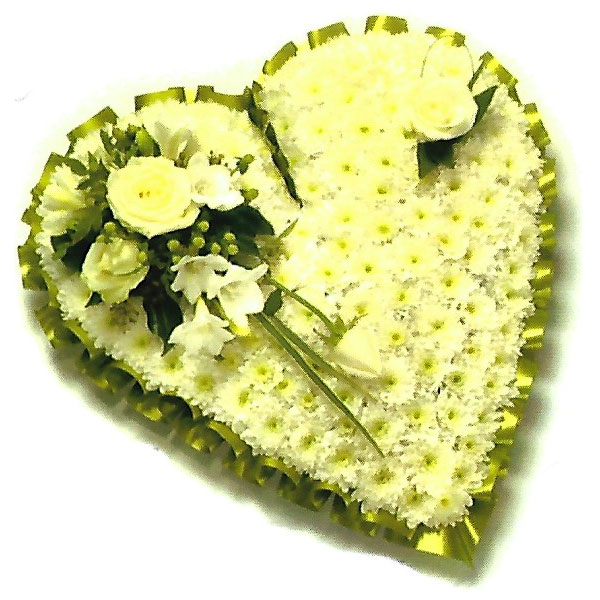 funeral flowers Sheffield solid white heart