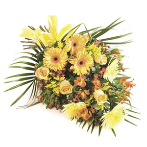 gold tied sheaf Sheffield funeral flowers