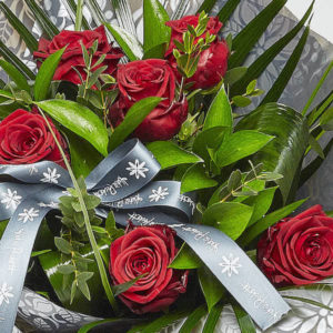red rose bouquet from sheffield florist katie peckett