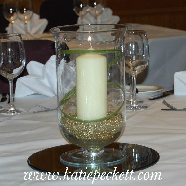 hurricane vase church candle centrepiece wedding flowers Sheffield