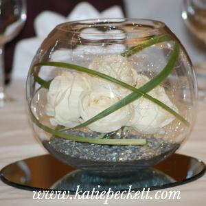 large fishbowl centrepiece wedding flowers Sheffield cream roses