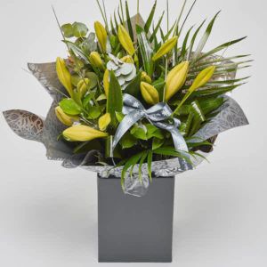 longi lily bouquet with Katie Peckett florist branding