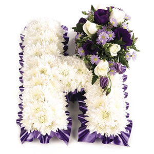 massed floral letters funeral flowers Sheffield