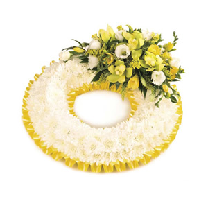 massed floral wreath Sheffield funeral flowers