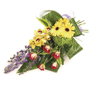 modern tied floral sheaf Sheffield funeral flowers
