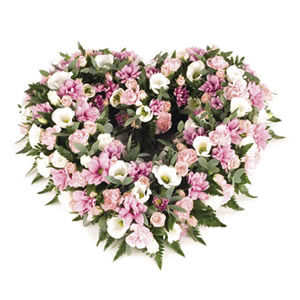 pink open heart wreath funeral flowers Sheffield