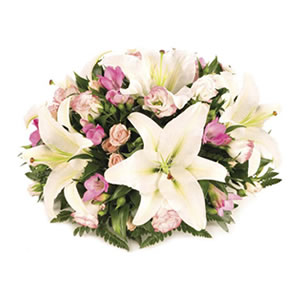 pink and white posy funeral flowers Sheffield