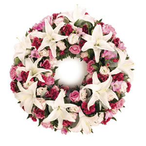 pink and white wreath Sheffield funeral flowers