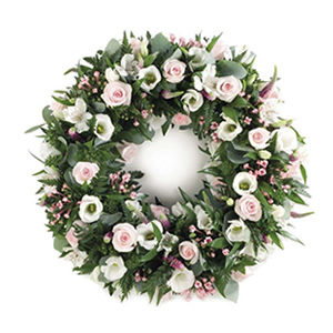 pink white wreath funeral flowers in Sheffield