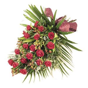 rose tied sheaf Sheffield funeral flowers