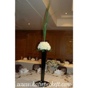 tall black centrepiece hydrangea wedding flowers Sheffield