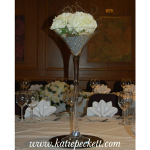 tall martini vase hydrangea centrepiece wedding flowers Sheffield