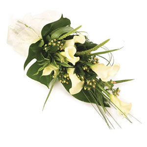 white modern tied sheaf funeral flowers Sheffield