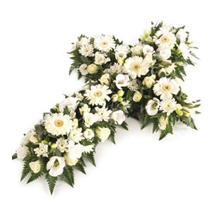 white open cross funeral flowers Sheffield