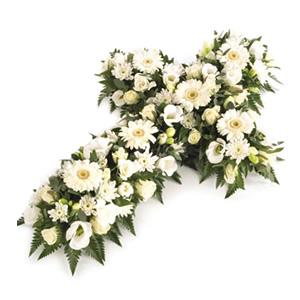white open cross funeral flowers Sheffield