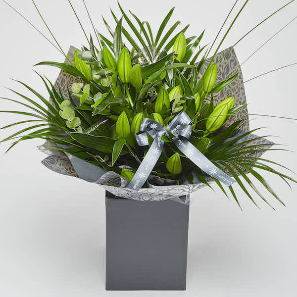 white oriental lily bouquet online flowers Sheffield