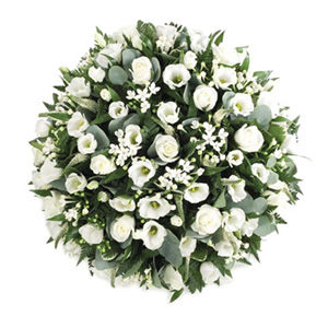 white posy pad funeral flowers Sheffield